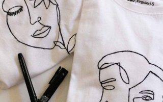 DIY Line Art T-Shirts (mit druckfähiger Vorlage!)