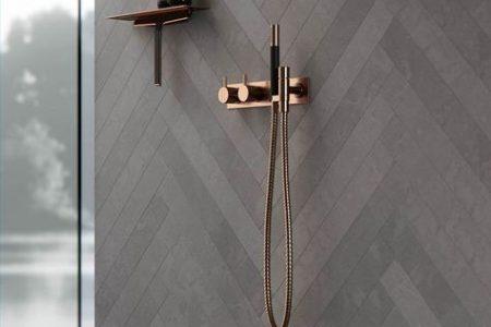 Badezimmerzubehör aus Kupfer. Baddekor, Ideen und Inspiration. Dusche innen - # ...