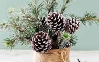 Snowy Tree Winter & Christmas DIY Tischdekoration {in 20 Minuten!}
