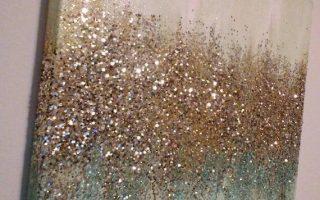 Handgemachte abstrakte Glitter Malerei Individuell Modern Chic Wohnkultur Mint blau grün Gold