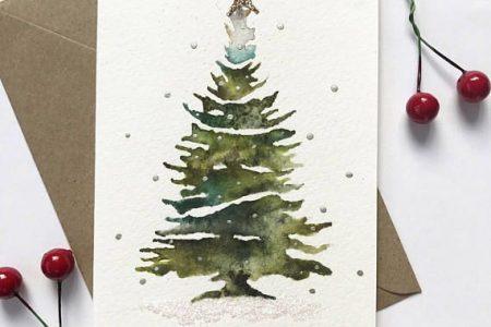Aquarell Weihnachtsbaum   glitzernde Weihnachtskarte, Weihnachtskarte, Weihnachtskarte, handgemachte Weihnachten