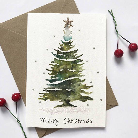 Aquarell Weihnachtsbaum | glitzernde Weihnachtskarte, Weihnachtskarte, Weihnachtskarte, handgemachte Weihnachten