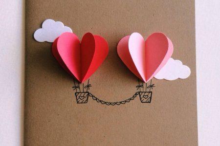 Paar Herz-Heißluftballon-Karte (rot / rosa)