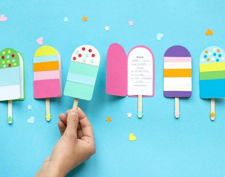 Tolles DIY mit Vorlage: Die beliebten Eis-Einladungskarten! - Kleine Drucke Geschichten