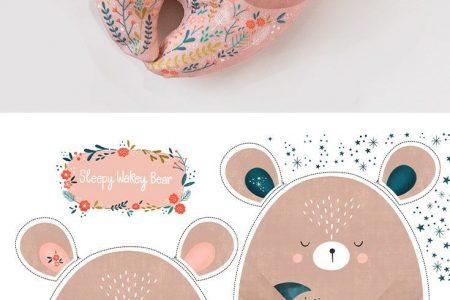 Bunte Stoffe, digital gedruckt von Spoonflower - Sleepy Wakey Bear DIY Fat Quarter