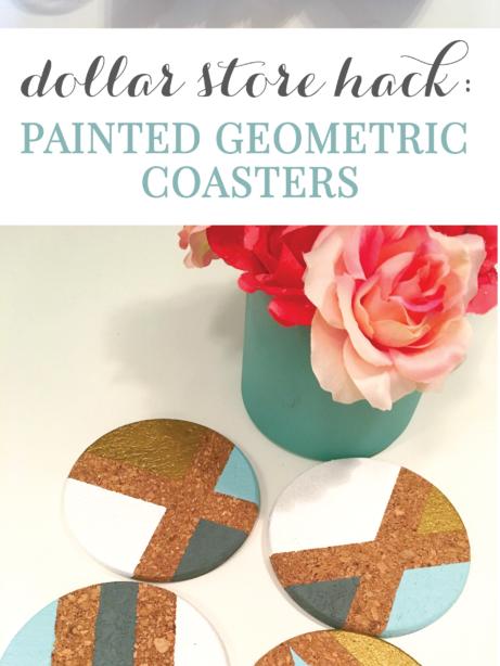Dollar Store Hack: DIY gemalte geometrische Korkuntersetzer • Token & Bliss