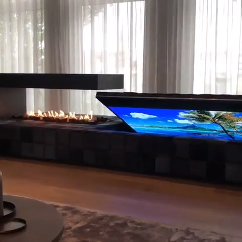 Kamin und TV-Idee