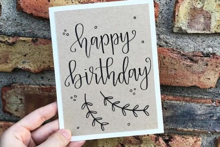 Alles Gute zum Geburtstag Grußkarte - handgemachte Kalligraphie Geburtstagskarte - Kraftpapier Overlay - Single