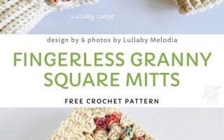Fingerless Granny Square Mitts Kostenlose Häkelanleitung