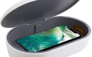 icyber Smart Phone Sanitizer Tragbare UV-Leuchten Handy Sanitizer Sterilisator Reiniger Box mit 10W schnelles kabelloses Ladegerät Aromatherapie-Funktion Desinfektor für iPhone Android Handy Zahnbürste