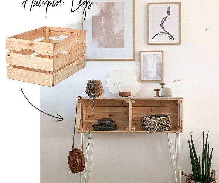 IKEA Hack - Bauen Sie selbst ein Regal mit Haarnadelbeinen - LEBENDE KLEIDUNG - DIY Ikea Hack Knagglig Kiste Sideboard mit Haarnadelbeinen Ergebnis vi ...