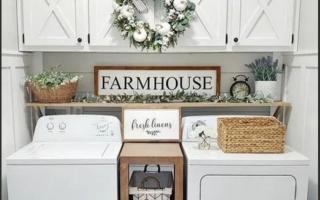 Kleine Waschküche im Landhausstil Ideen für die Umgestaltung Ihrer kleinen Waschküche im rustikalen Bauernhausstil