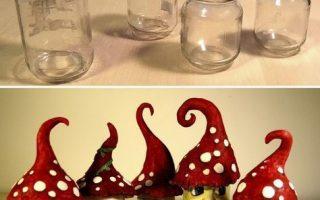 Ich habe Gartenzwerge aus alten Gläsern gemacht