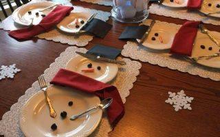 DIY Tischdekoration Ideen für Weihnachten, dekorieren Teller als Schneemänner, ...