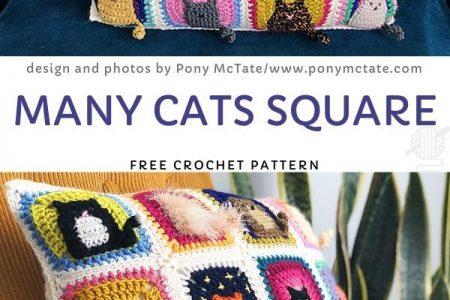 Viele Katzen Square Free Häkelanleitung