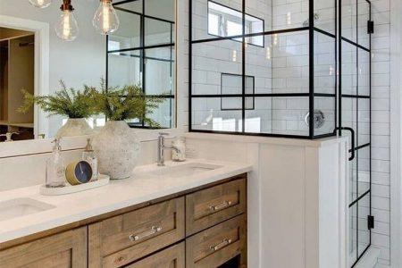 Industrielle und moderne Bauernatmosphäre für dieses Badezimmer. #lightingdes ... - ich ...