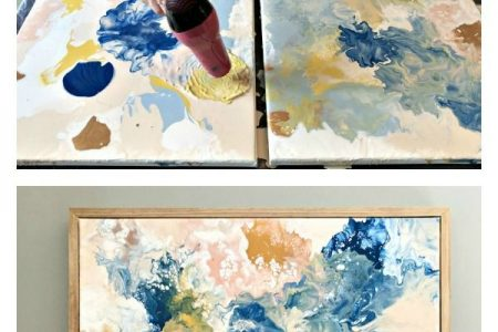 Versuchen Sie diese hübsche DIY-Farbe, die Wandkunst-Idee gießt - Äbte zu Hause