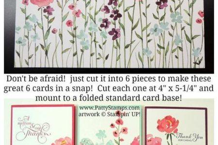 Painted Blooms Designer Paper - zu hübsch zum Zerschneiden? Erstellen Sie 6 schöne handgemachte Karten, aber schneiden Sie dieses hübsche Blumenmuster und montieren Sie ...