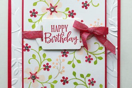 Hübsche Geburtstagskarte mit nachdenklichen Blüten