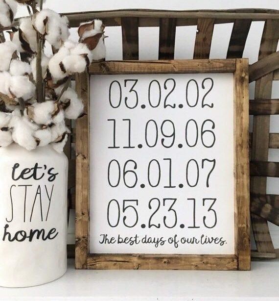 11X13 | Beste Tage unseres Lebens | Personalisierte Daten | Familie | Holzgerahmtes Schild | Rustikales Dekor | Dekor im Landhausstil