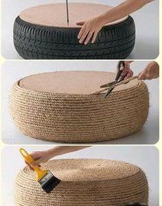 Verwandeln Sie mit diesem osmanischen Tutorial einen alten, übrig gebliebenen Reifen in die perfekte Ergänzung für das Wohnzimmer