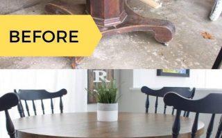 Wie man einen Säulentisch mit einem modernen Bauernhaus-Look färbt und malt