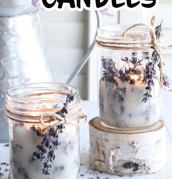 Machen Sie Ihre eigenen Einmachglaskerzen mit Lavendel