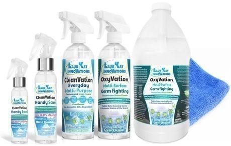 OxyVation ™ Premium-Kit zur sicheren Keim- und Virusbekämpfung (2 Händedesinfektionsmittel, 1 Reiniger für Oberflächenkeime, Viren, Flecken und Gerüche mit 64-Unzen-Nachfüllung, 1 Allzweck-Alltagsreiniger mit Mikrofaser)