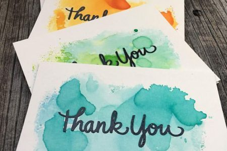 5er Set Aquarell-Dankeskarten, handgemachtes Dankeskarten-Set, leeres Dankeskarten-Set