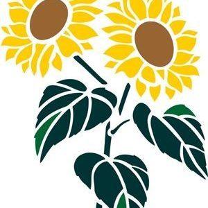 Sonnenblumen Grafik Drei Größenauswahl Schablone