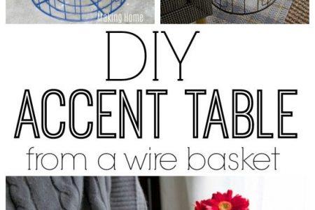 DIY Akzent Tisch aus einem Draht Wäschekorb