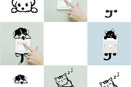 DIY lustige Katze Hund Schalter Aufkleber Wandaufkleber Home Decoration Schlafzimmer Salon D ...