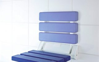 Duschhocker Metall, Kunststoff - Blau, Weiß