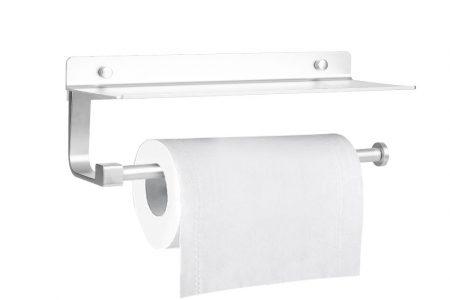 An der Wand gehörtigte Rollenpapierhalter-Aufgaben-Speicher-Regal-Leichtgewichtler-Aluminiumklebstoff-Spender-Regal mit glatter Kante für Haupthandelsgebrauch (Silber)