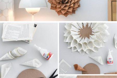 Florales für die Wand: DIY Deko-Dahlien aus Buchseiten und Korkstoff - Sinnenrausch - Der kreative D.