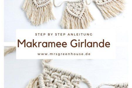 DIY Makramee Girlande mit kleinen Wimpeln
