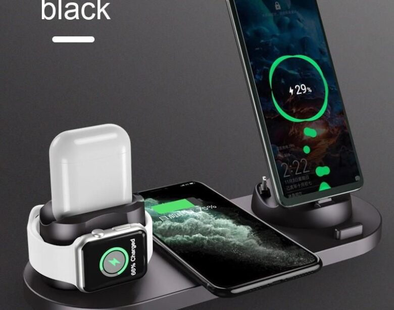 6 in 1 Wireless Charger Dock Station für iPhone / Android - Schwarz 6 In 1