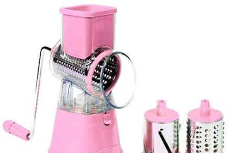 Multifunktionaler runder Mandolinenschneider Küchenhelfer Käsereibe Gemüseschneider - Spanien / pink