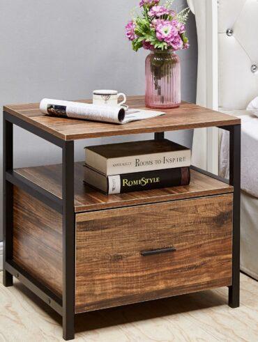 VECELO Square Nachttisch / Nachttisch / Beistelltisch / Couchtisch Braun - 1 Schublade / Braun